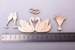 Набор минифигурок Свадьба, 4,5-2,5см, фанера 3мм, 109009