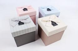 Набор одиночных коробок ( из 4шт) - КУБ с бантом полоска S831