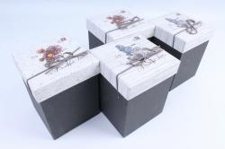 Набор одиночных коробок (4 шт в уп) - Куб Цветы ассорти 12*12*17см