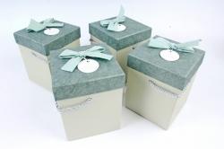 Набор одиночных коробок (4 шт в уп) - КУБ высокий меланж изумруд К741