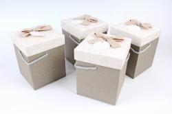 Набор одиночных коробок (4 шт в уп) - КУБ высокий меланж капучино   К741