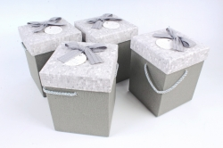 Набор одиночных коробок (4 шт в уп) - КУБ высокий меланж серый   К741
