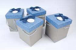 Набор одиночных коробок (4 шт в уп) - КУБ высокий меланж синий  К741