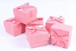 Набор одиночных коробок (6 шт в уп) - Квадрат горох розовая