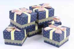 Набор одиночных коробок (6 шт в уп) - Квадрат Сердечки персиковый бант