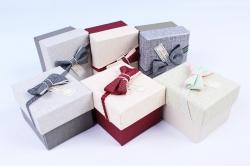 Набор одиночных коробок (6 шт в уп) - Прямоугольник бант бабочка  К511