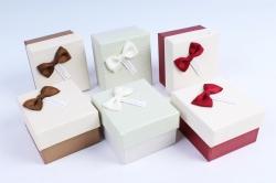 Набор одиночных коробок из 6 шт - Квадрат с бантом-бабочкой