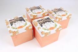 Набор одиночных коробок из 4 шт- КУБ Кисуля с окошком персик  К817