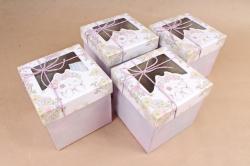 Набор одиночных коробок из 4 шт- КУБ Кисуля с окошком сиреневый  К817