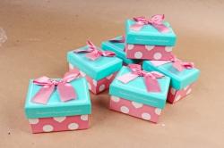 Набор одиночных коробок из 6 шт- Прямоугольник бирюза крышка/розов. бант  К813