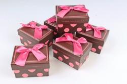 Набор одиночных коробок из 6 шт- Прямоугольник коричнавая крышка/малина бант  К813