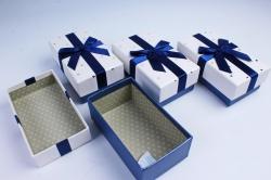 Набор одиночных коробок из 4 шт- Прямоугольник Золотые звезды белый/синий