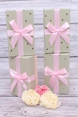 Набор одиночных коробок из 4 шт- Прямоугольник Золотые звезды оливковый/розовый 9*15*5,5