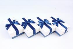Набор одиночных коробок из 4 шт- Прямоугольник Золотые звезды сине/белый К436