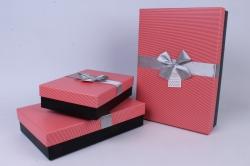 Набор одиночных коробок из 3-х шт - Прямоугольник с бантом Коралловый