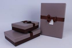 Набор одиночных коробок из 3-х шт - Прямоугольник с бантом Коричневый