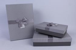 Набор одиночных коробок из 3-х шт - Прямоугольник с бантом Серый
