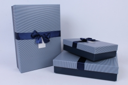 Набор одиночных коробок из 3-х шт - Прямоугольник с бантом Синий