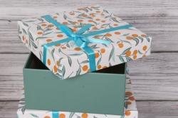 Набор одиночных коробок из 3-х шт - Квадрат Апельсинки 21*21*10см К395