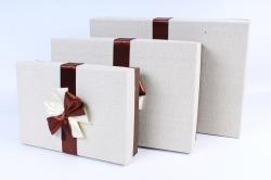 Набор одиночных коробок из 3-х шт - Прямоугольник с бантом бежевая крышка Т025