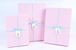 Набор одиночных коробок из 3-х шт - Прямоугольник с бантом розовая крышка  Т025