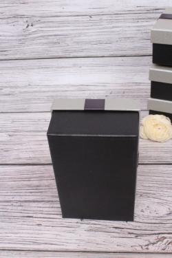 Набор одиночных коробок из 4-х шт -  Прямоугольник Атласный бант серо/чёрный 17*11*6.5см