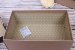 Набор одиночных коробок из 4-х шт-  Прямоугольник Атласный бант коричнево/бежевый 17*11*6.5см