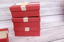 Набор одиночных коробок из 4-х шт-  Прямоугольник красный 17*11*6.5см