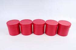 Набор одиночных коробок (из 5шт) - Цилиндр красный текстурный К442