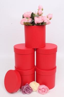 Набор одиночных коробок (из 5шт) - Цилиндр красный текстурный  d=11.5, h=11.5см К442