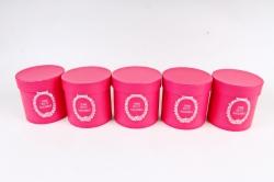 Набор одиночных коробок (из 5шт) - Цилиндр малина текстурный  К442