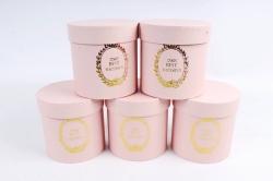 Набор одиночных коробок (из 5шт) - Цилиндр розовый текстурный К442