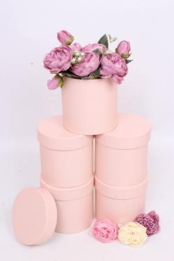 Набор одиночных коробок (из 5шт) - Цилиндр розовый текстурный  d=11.5, h=11.5см К442