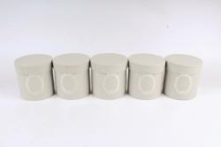Набор одиночных коробок (из 5шт) - Цилиндр серый текстурный  К442