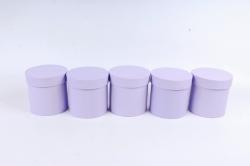 Набор одиночных коробок (из 5шт) - Цилиндр сирень текстурный   К442