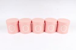 Набор одиночных коробок (из 5шт) - Цилиндр темно розовый текстурный  К442