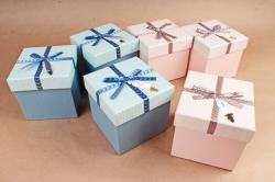Набор одиночных коробок из 4шт - КУБ розово/голубой  S600