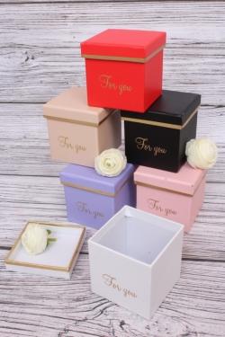 Набор одиночных коробок из 6шт - КУБ с золотым кантом 8*8*8см  В228