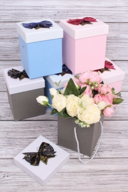 Набор одиночных коробок из 6шт - Куб высокий с бантом 11х11 h=16см см К707