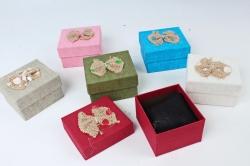 Набор одиночных коробок из 6шт - Прямоугольник мешковина бант горох  1811-44