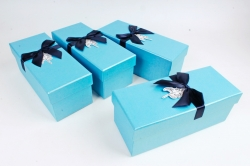 Набор одиночных коробок (из 4шт) -  Прямоугольник голубой    К734