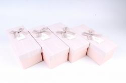 Набор одиночных коробок (из 4шт) -  Прямоугольник розовый    К734
