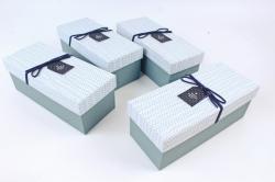 Набор одиночных коробок (из 4шт) -  Прямоугольник серо-голубой   К734