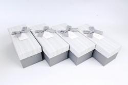 Набор одиночных коробок (из 4шт) -  Прямоугольник серый полоска   К734
