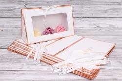 Набор одиночных коробок 10шт - Клатч с окошком белый 26*16*9см В183