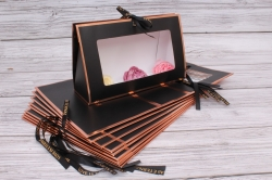 Набор одиночных коробок 10шт - Клатч с окошком черный 26*16*9см В183