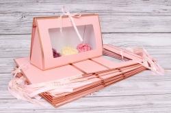 Набор одиночных коробок 10шт - Клатч с окошком розовый 26*16*9см В183