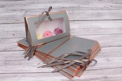 Набор одиночных коробок 10шт - Клатч с окошком серый 26*16*9см В183