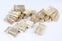 Набор одиночных коробок ювелирных (24шт в уп)-  Глиттер с бантом золото 5*8*2,5см 10021-7-N  (М)