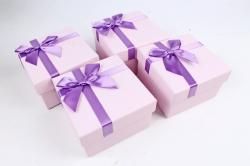 Набор одиночных подарочных коробок из 4 шт- Квадрат орхидея  К521
